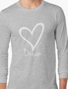 DREAM....#BeARipple White Heart on Blue Long Sleeve T-Shirt