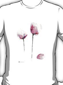 Pink tulips watercolor art print painting T-Shirt