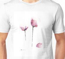 Pink tulips watercolor art print painting Unisex T-Shirt
