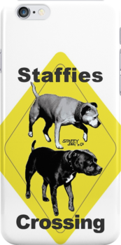 Staffies Crossing Sign by amanda metalcat dodds