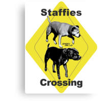 Staffies Crossing Sign Canvas Print