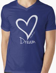 DREAM....#BeARipple White Heart on Pink Mens V-Neck T-Shirt