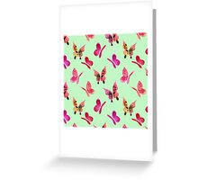 Watercolor butterflies - pink on mint  Greeting Card