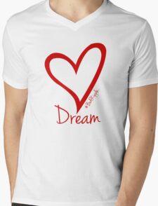 DREAM....#BeARipple Red Heart on Pink Mens V-Neck T-Shirt