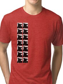 Staffy Dog Head Vertical Pattern Tri-blend T-Shirt