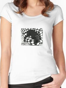 Staffy Dog black on black and white Women's Fitted Scoop T-Shirt