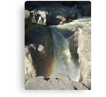 Granite Falls With Rainbow Canvas Print