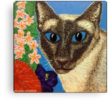 Siamese Cat With Bush Flowers Canvas Print