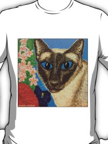 Siamese Cat With Bush Flowers T-Shirt