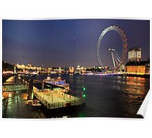 river thames and london eye Poster