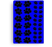 Paw Prints Pattern on Blue Canvas Print