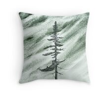 Portrait of an Evergreen in Snowstorm Throw Pillow