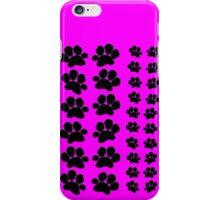 Paw Prints Pattern on Pink iPhone Case/Skin
