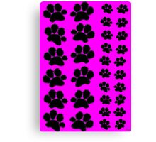 Paw Prints Pattern on Pink Canvas Print