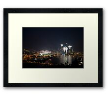 Fireworks, Full Moon and Football in Pittsburgh Framed Print