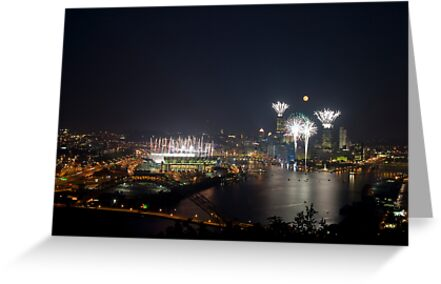 Fireworks, Full Moon and Football in Pittsburgh by C5Photography