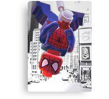 Lego spiderman hanging Canvas Print