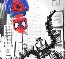 Lego Spiderman vs. Venom in the city (vert) by steinbock