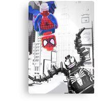 Lego Spiderman vs. Venom in the city (vert) Metal Print