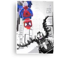 Lego Spiderman vs. venom in the city (with border) Canvas Print