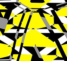 Yellow, black and white pieces abstract design by lalylaura