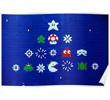 8-bit Christmas Tree Graffiti  Poster