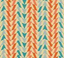 Blue and orange vintage pattern by lalylaura