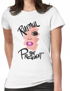 RuPaul for President- Black Text Womens Fitted T-Shirt