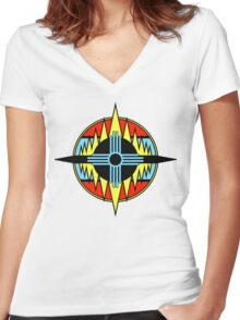New Mexico Compass Women's Fitted V-Neck T-Shirt