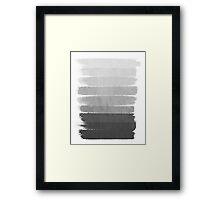 Brushstroke - Ombre Grey, Charcoal, minimal, Monochrome, black and white, trendy,  painterly art  Framed Print