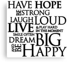 Have Hope Be Strong Typography Motivational Words Canvas Print