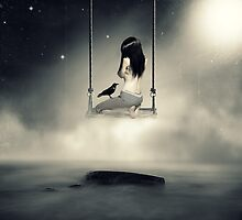 sureal/conceptual scenery of young girl on swing  by chrissiexxx68