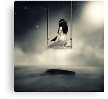 sureal/conceptual scenery of young girl on swing  Canvas Print