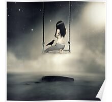 sureal/conceptual scenery of young girl on swing  Poster