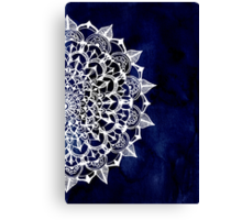 White Lace Medallion on Ink Blue Canvas Print