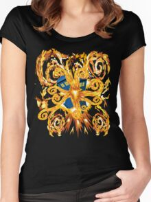 Exploded Phone booth Digital painting Women's Fitted Scoop T-Shirt