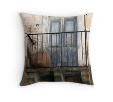 abandoned balcony Throw Pillow