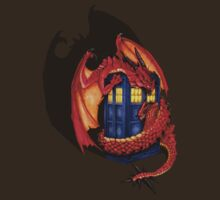 Blue phone box with Smaug The Red wyvern dragon by Arief Rahman Hakeem