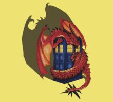 Blue phone box with Smaug The Red wyvern dragon Kids Clothes