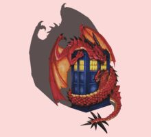 Blue phone box with Smaug The Red wyvern dragon One Piece - Long Sleeve