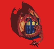 Blue phone box with Smaug The Red wyvern dragon Kids Tee