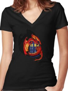 Blue phone box with Smaug The Red wyvern dragon Women's Fitted V-Neck T-Shirt