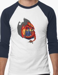 Blue phone box with Smaug The Red wyvern dragon Men's Baseball ¾ T-Shirt