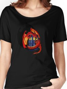 Blue phone box with Smaug The Red wyvern dragon Women's Relaxed Fit T-Shirt
