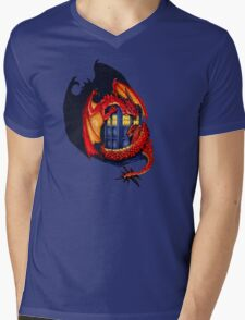 Blue phone box with Smaug The Red wyvern dragon Mens V-Neck T-Shirt