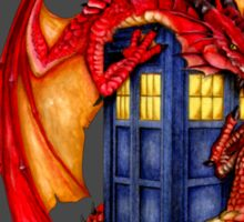 Blue phone box with Smaug The Red wyvern dragon Sticker
