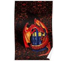Blue phone box with Smaug The Red wyvern dragon Poster