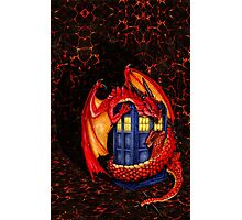 Blue phone box with Smaug The Red wyvern dragon Photographic Print