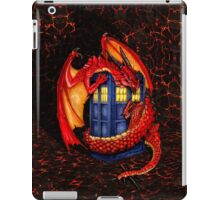 Blue phone box with Smaug The Red wyvern dragon iPad Case/Skin