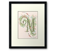 M Romantic Floral Monogram Framed Print
